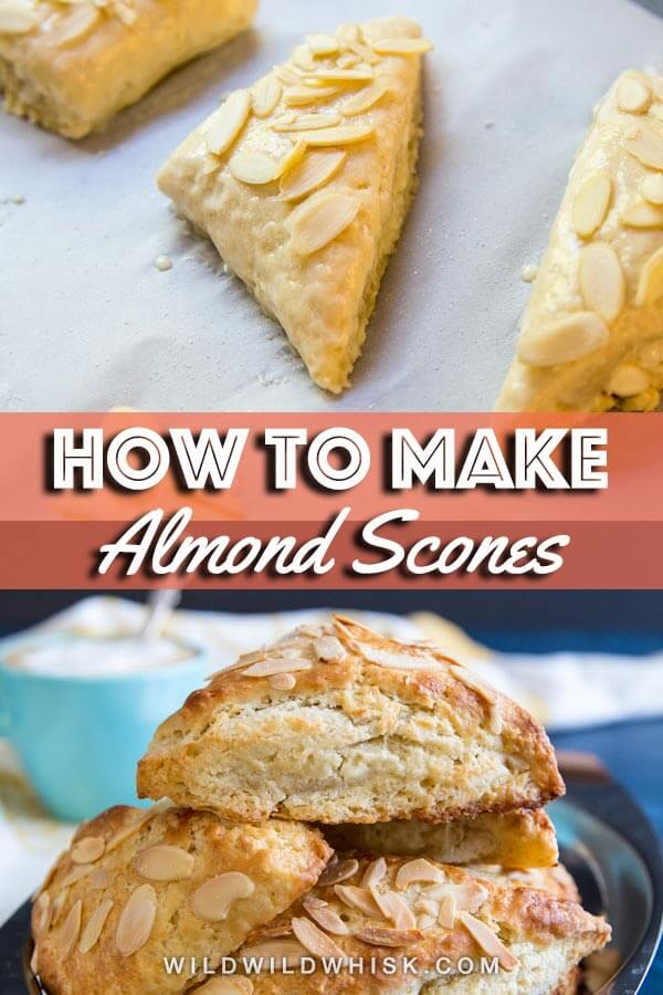 These tender Almond Scones are made with buttermilk and stuffed with a homemade almond paste filling. They're prefect with tea or coffee. #wildwildwhisk #scones