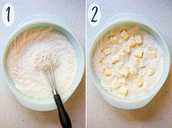 Almond scones dry ingredients and added butter cubes