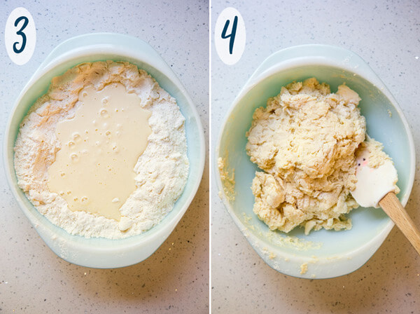 Adding wet ingredients to make almond scone batter
