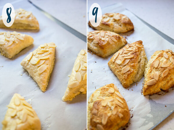 Unbaked and baked almond scones on a baking sheet