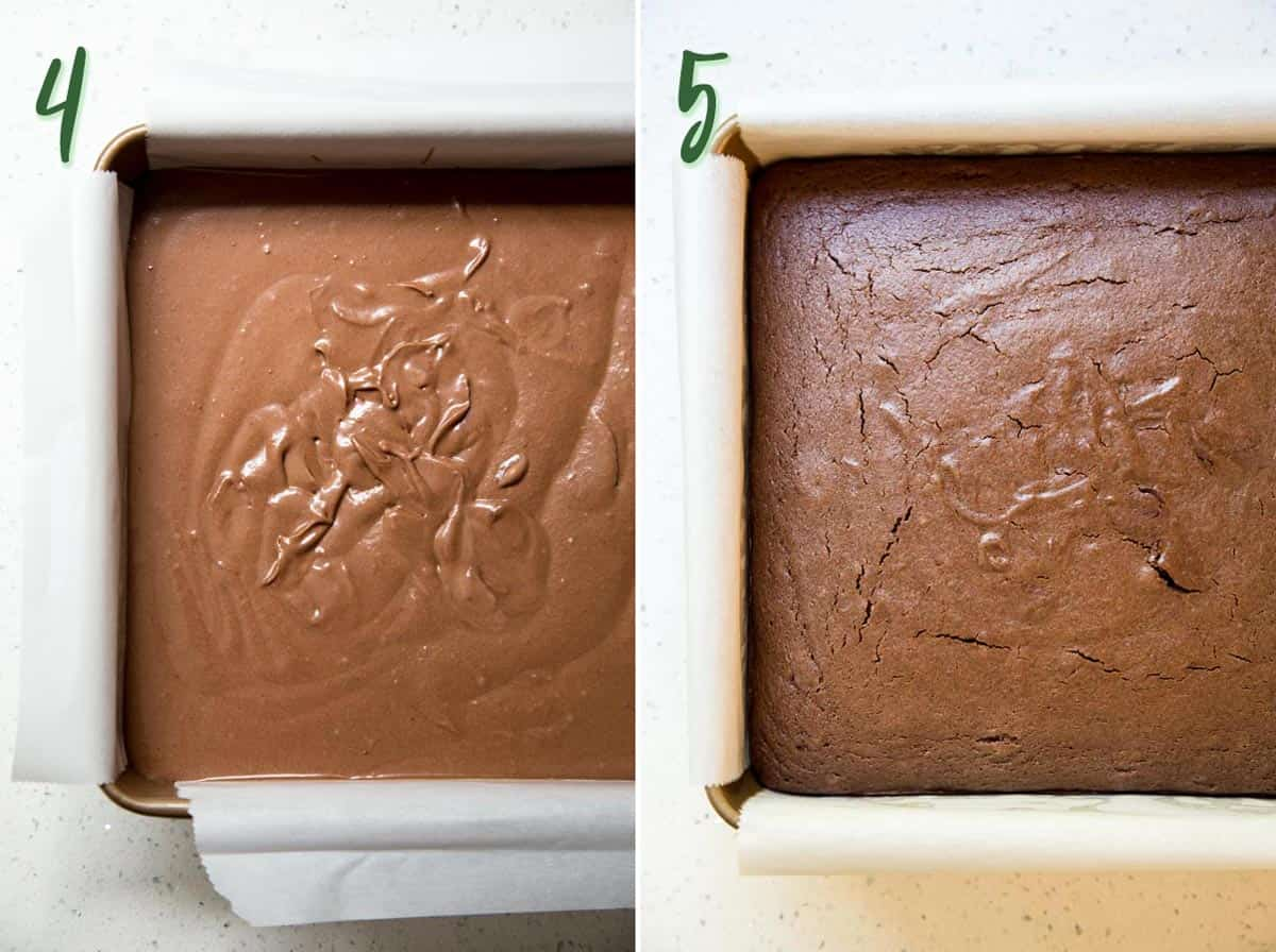 Unbaked and baked brownie butter mochi in a square baking pan