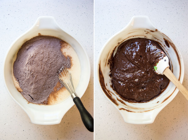 Mixing the dry ingredients and wet ingredients together for chocolate cupcake batter