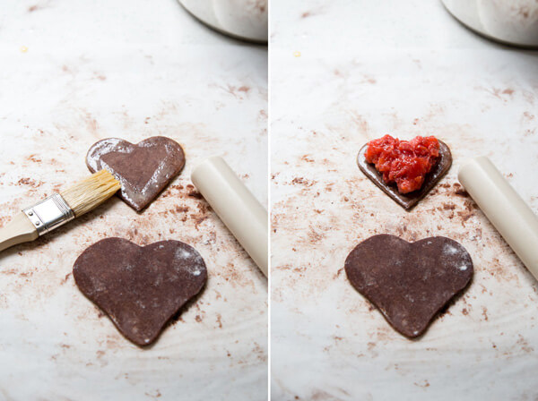 Add filling to pie dough to make chocolate strawberry hand pie
