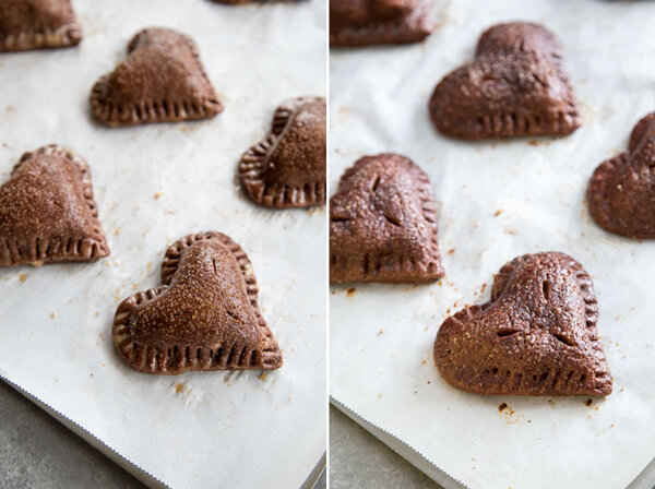 Side by side photo of unbaked and baked chocolate strawberry hand pies