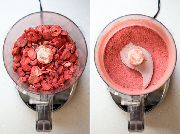 Pulverizing freeze dried strawberry into a powder