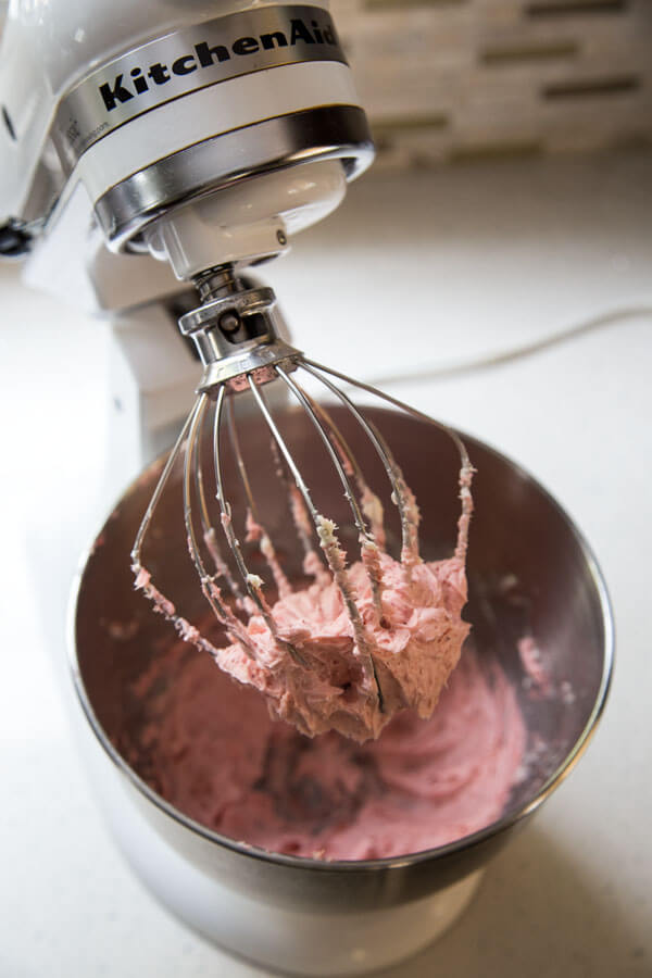 Strawberry Cream Cheese Frosting in the stand mixer