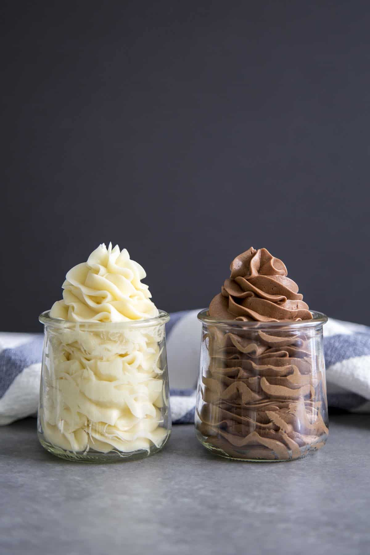 Chocolate and vanilla swiss buttercream in clear jars