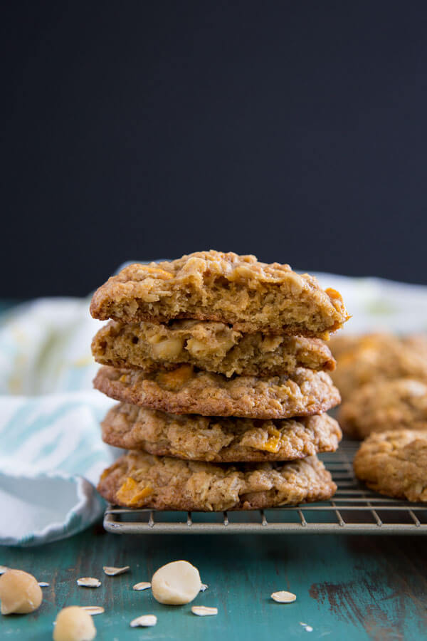 A stack of Tropical Mango Oatmeal Cookies
