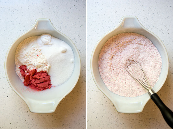 Preparing dry ingredients for strawberry cupcakes