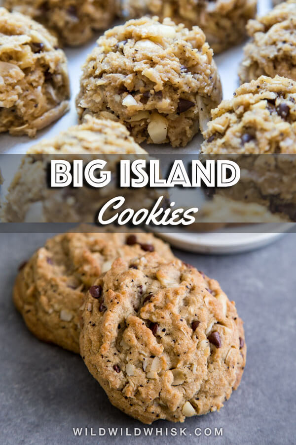 These Big Island Cookies or Hawaiian chocolate chip cookies are filled with macadamia nuts, chocolate chips, coconut and rolled oats. They are chewy, hearty and delicious. #wildwildwhisk #chocolatechipcookies