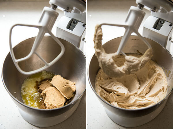 Brown sugar and melted butter beaten together in a stand mixer bowl