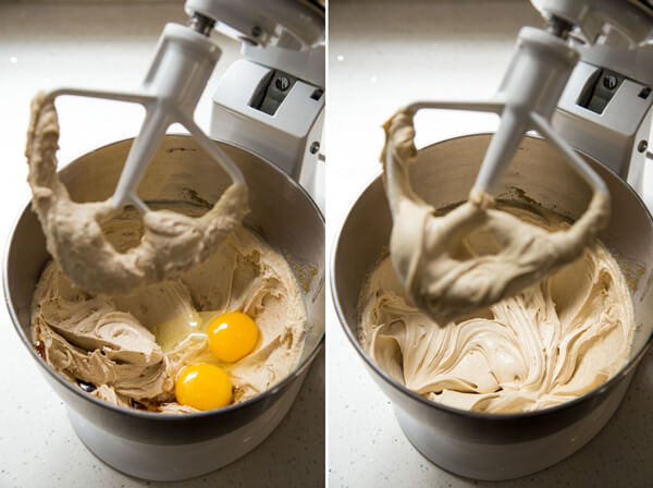 Egg and vanilla are added to the butter sugar mixture and beaten in a stand mixer bowl
