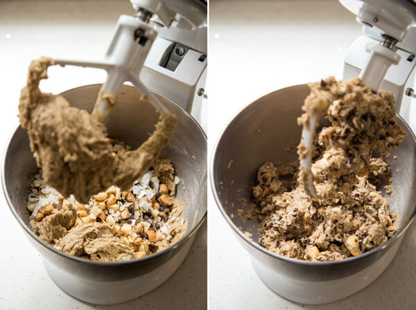 The cookie filling is added to the cookie dough