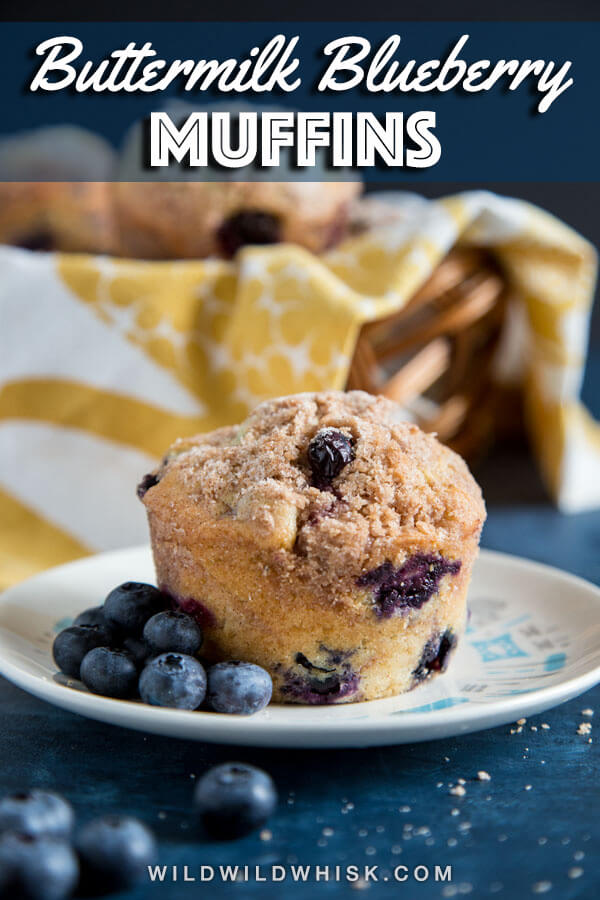 These homemade jumbo Buttermilk Blueberry Muffins with cinnamon streusel crumble topping are soft, fluffy and guaranteed to disappear as soon as they come out of the oven. #wildwildwhisk #blueberrymuffins