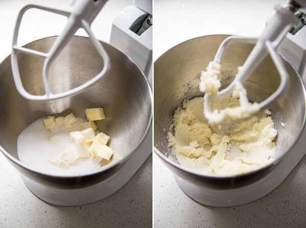 Creaming butter and sugar in a stand mixer