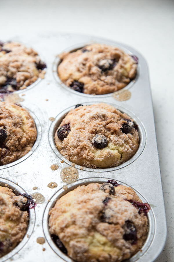 Baked blueberry muffins in a muffin pan