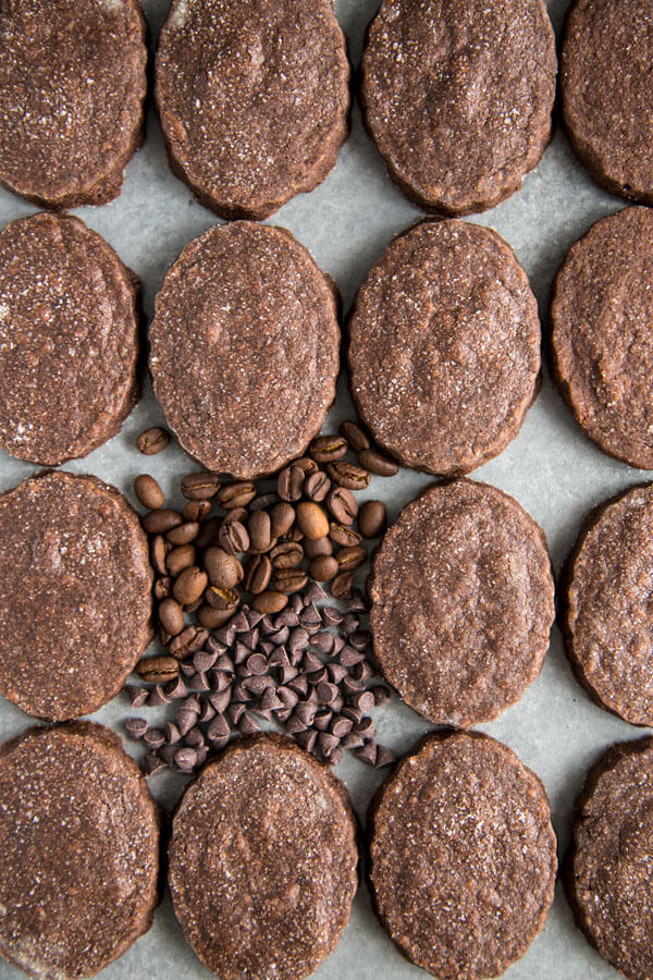 Chocolate espresso shortbread cookies lined up on a table top with coffee beans and chocolate chips