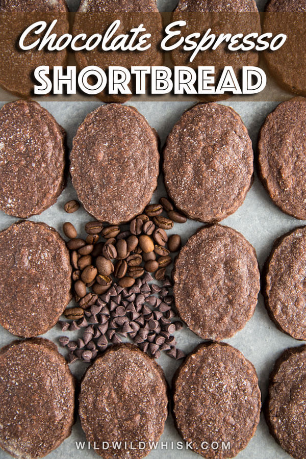 Chocolate Espresso Shortbread Cookies are buttery shortbread cookies with an intense chocolate flavor complement by dark espresso ground. Dunk them in milk and you'll have the perfect afternoon treat. #wildwildwhisk #ad