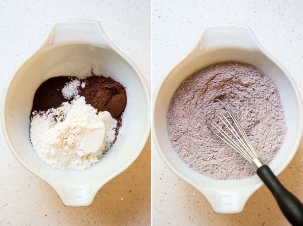 Mixing up the dry ingredients for the chocolate espresso shortbread dough in a small mixing bowl
