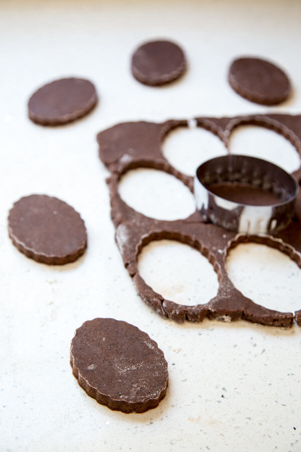 Cutting the chocolate espresso shortbread dough into shape