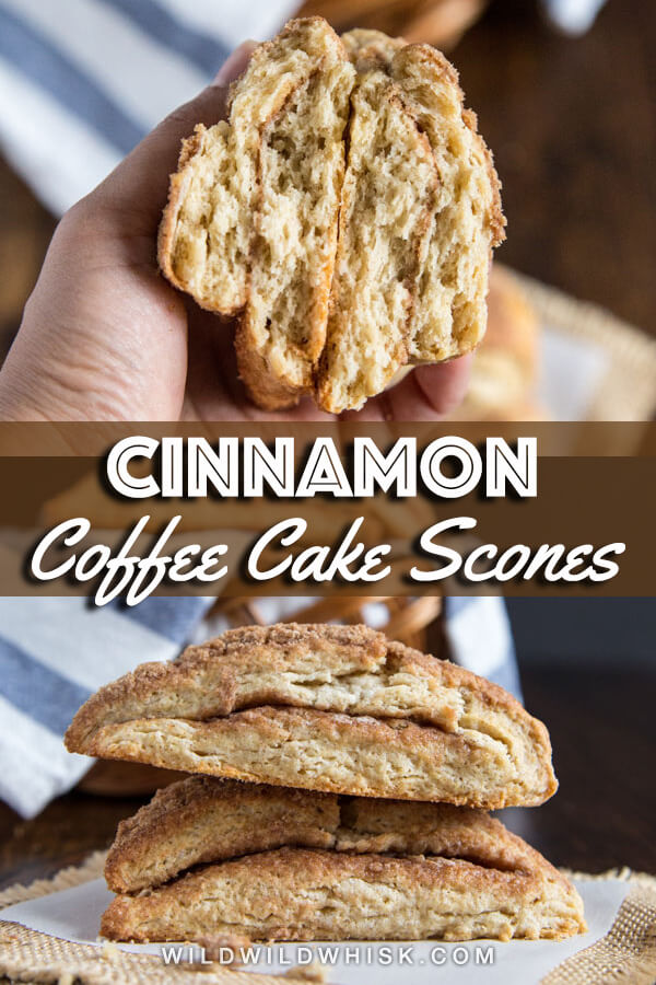 Tender Cinnamon Scones with a slightly crunchy cinnamon streusel topping and more cinnamon streusel stuffed in the middle are a great compromise when you can't decide among scones, coffee cake or cinnamon rolls. #wildwildwhisk #scones