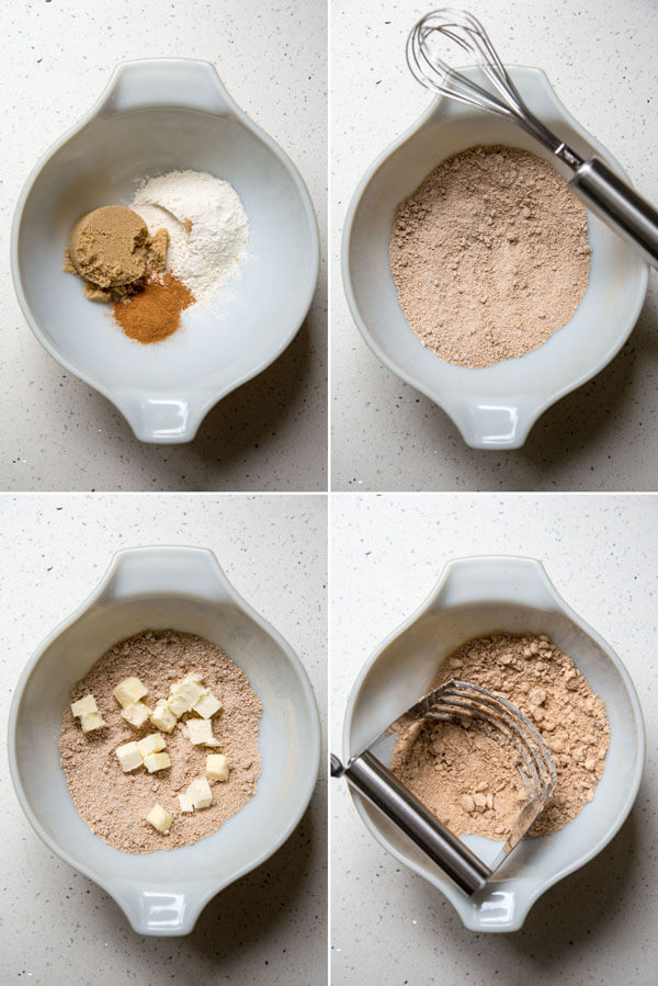 Process photos for making cinnamon streusel in a small mixing bowls