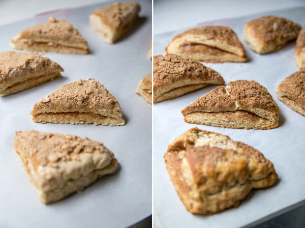 Side by side photos of unbaked and baked cinnamon scones on a baking sheet