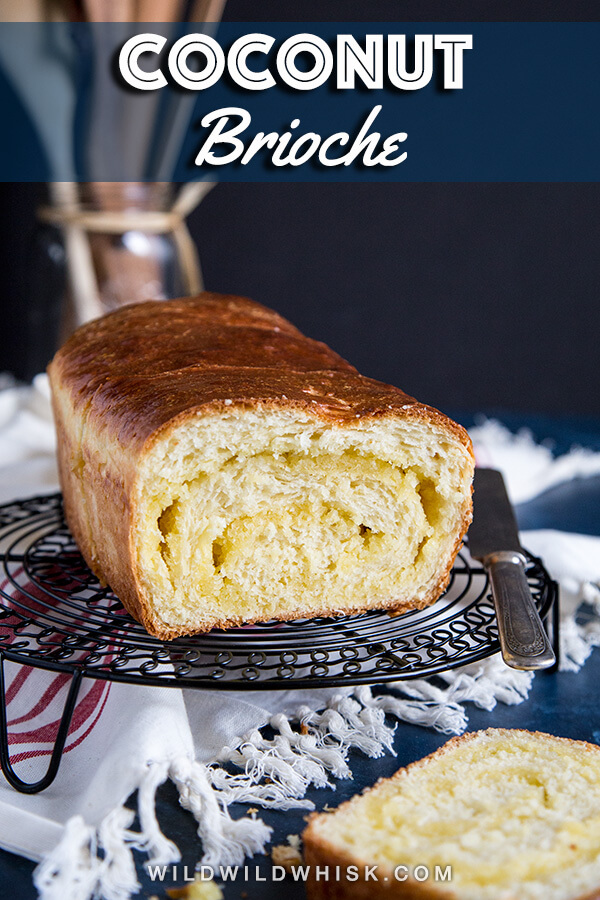 This Coconut Brioche is filled with swirls of sweetened coconut paste inside the fluffiest and softest brioche bread. It is the ultimate weekend brunch or breakfast treat! #wildwildwhisk #ad