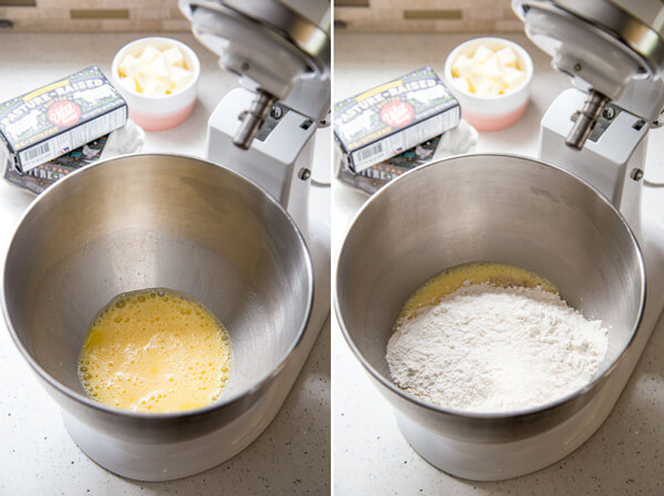 Beaten egg in a stand mixer bowl and flour is added to the beaten egg