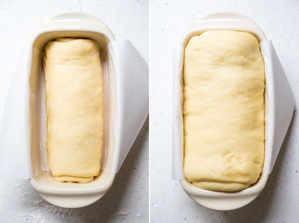 Allow the assembled dough to rise in a loaf pan