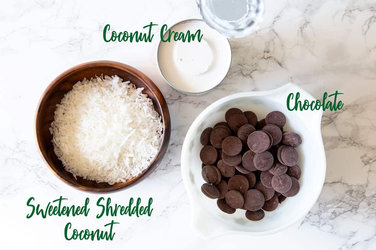 Coconut cream and chocolate in a glass bowl