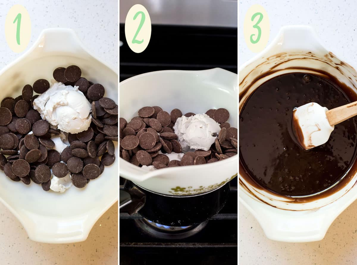 Coconut cream and chocolate in a glass bowl on top of a small pan of simmering water