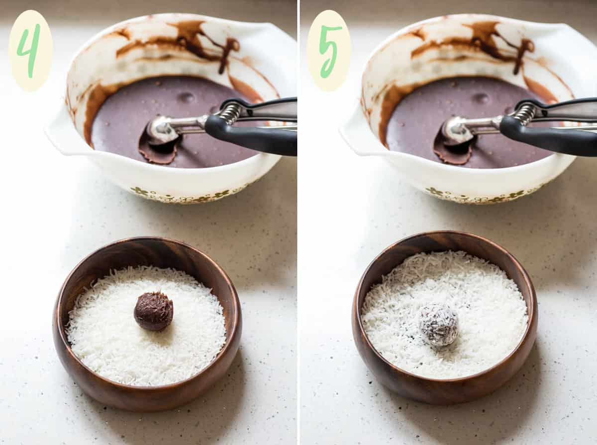 Melted chocolate and coconut cream mixture in a glass bowl