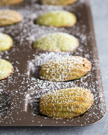 Matcha madeleines dusted with powder sugar in a madeleine pan