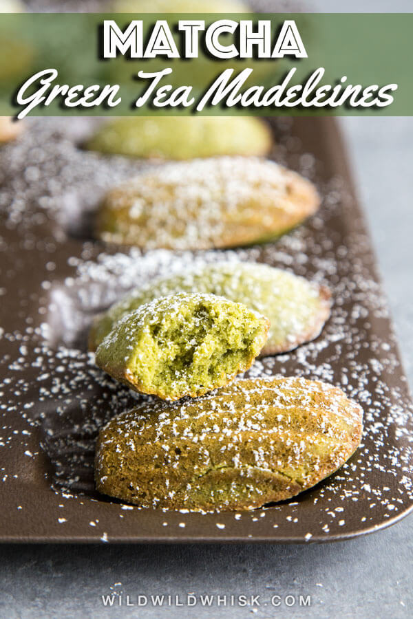 These Matcha Madeleines are buttery little green tea cakes that are the perfect mini desserts to serve at a tea party. #wildwildwhisk #madeleines