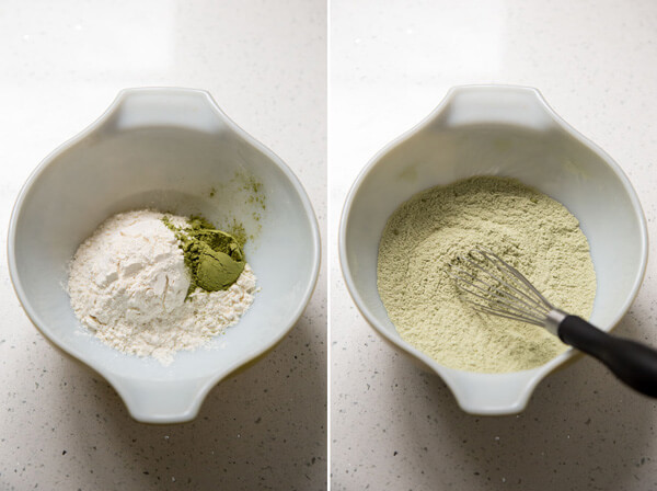 Flour and matcha powder mixed together in a small mixing bowl