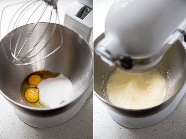 Beating eggs with sugar, salt and vanilla in a stand mixer
