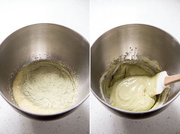 Folding matcha & flour into the egg mixture