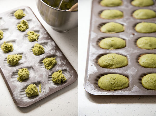 Dividing matcha madeleine batter into the madeleine pan for baking