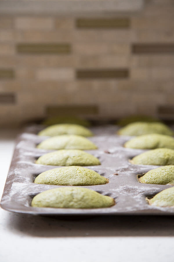 Matcha madeleines in a baking pan