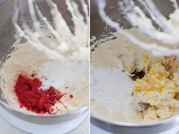 Ingredients for the two different frosting being mixed together in a stand mixer