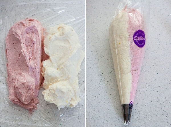 Assemble the two frosting on plastic wrap to create color swirl