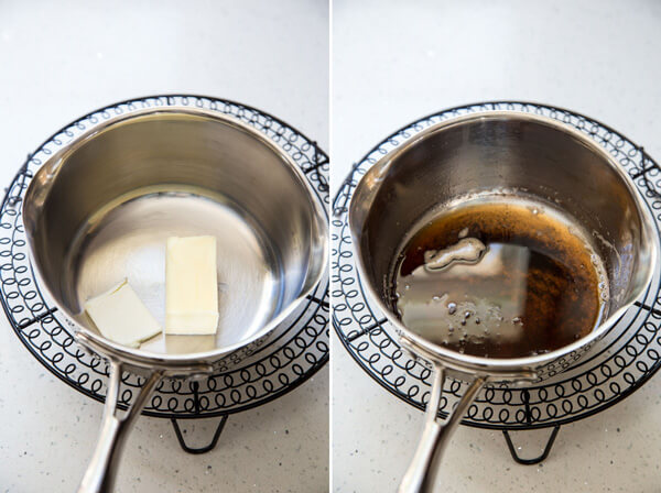 A collage showing butter in a sauce pan and melted brown butter
