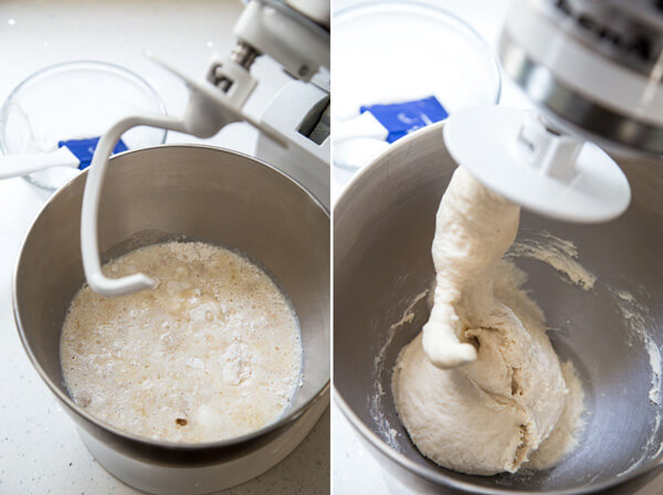 A collage showing dough being kneaded in a stand mixer