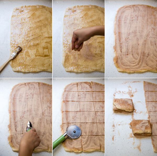 A collage showing the process of adding brown butter, and cinnamon sugar filling, cutting the dough into slices and stacking them