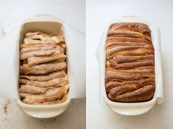 A collage showing the dough slices assembled in a loaf pan before and after baking