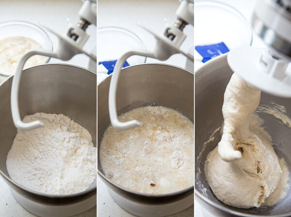 Making bread dough for cinnamon swirl bread in a stand mixer