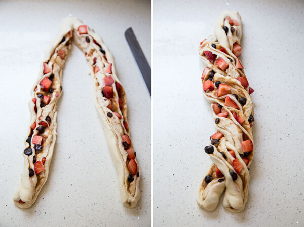 The log of bread is cut in half and the two strands twisted together