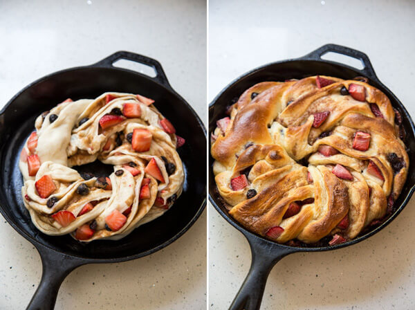 Side by side photos of unbaked and baked cinnamon swirl bread in a cast iron skillet