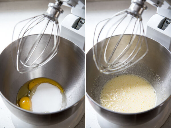 Beating egg with sugar in a stand mixer bowl